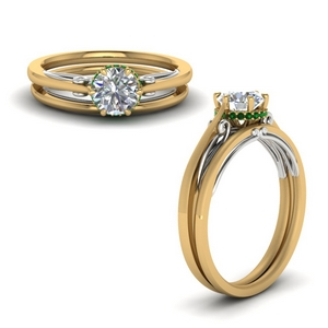 Delicate Emerald Wedding Ring Set
