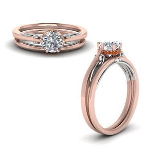 Orange Sapphire Wedding Ring Set