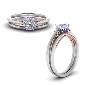 Petite Purple Topaz Wedding Set