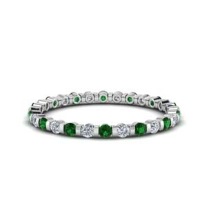Emerald Round Eternity Band