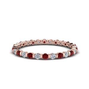 Rose Gold Ruby Women Band