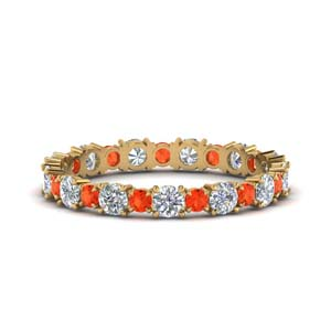 14K Gold Orange Topaz Band