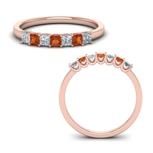 Rose Gold Orange Sapphire Band