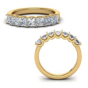 Princess Cut 7 Stone Band