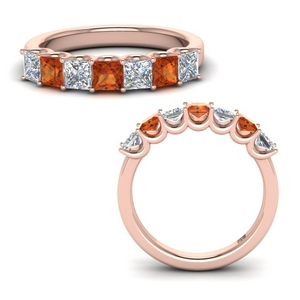 Orange Sapphire Women Wedding Band