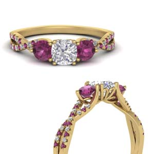 Pink Sapphire Trellis Twisted Ring