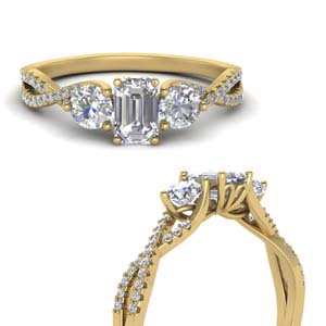 Gold Emerald Cut Side Stone Rings