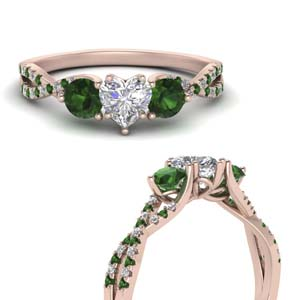 Heart Shaped Emerald Side Stone Rings