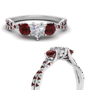 Trellis Ruby Twisted 3 Stone Ring