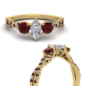 Trellis Twisted 3 Stone Ruby Ring