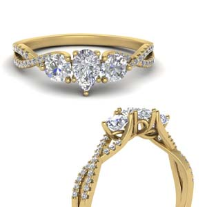 Twisted Gold Moissanite Engagement Ring