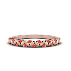 Orange Topaz Womens Wedding Band