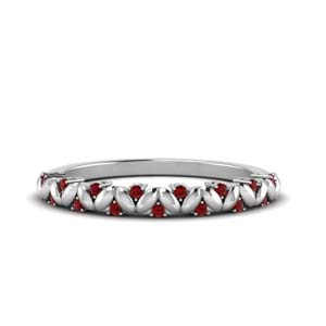 Vintage Leaf Ruby Band