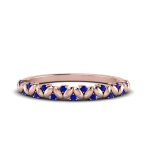 Sapphire Leaf Pattern Band