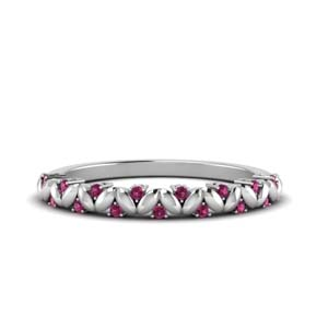 Simple Pink Sapphire Leaf Band
