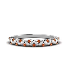 Thin Orange Sapphire Stackable Band