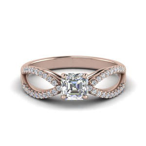 Asscher Cut Split Shank Diamond Ring