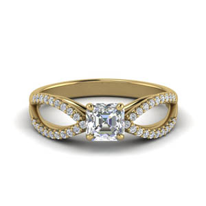 Reverse Pave Split Shank Diamond Ring