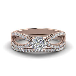 Reverse Pave Split Wedding Set