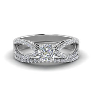 Pave Split Shank Wedding Ring Set