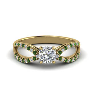 Emerald Split Shank Wedding Ring