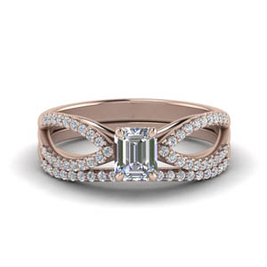Reverse Split Shank Diamond Ring Set