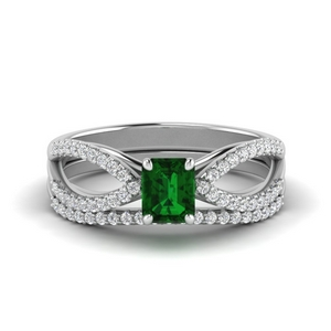Shank Emerald Bridal Ring Set