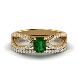 Split Shank Diamond Bridal Set With Emerald
