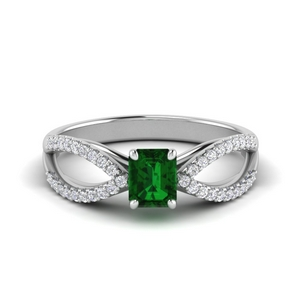 Split Shank Emerald Engagement Ring