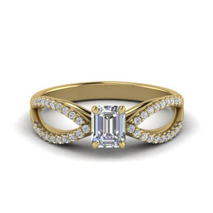 Split Shank Emerald Cut Rings