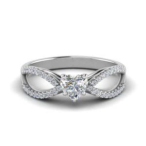 Heart Shaped Moissanite Side Stone Rings
