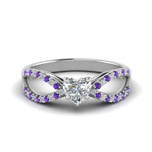 Purple Topaz Split 1 Karat Ring