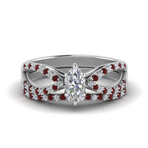 Pave Split Shank Ruby Ring Set