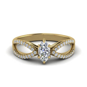 Reverse Split Shank Pave Diamond Ring