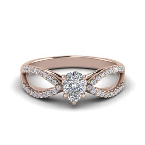 Reverse Split Pear Diamond Engagement Ring