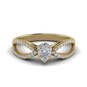 Split Shank Pear Diamond Ring