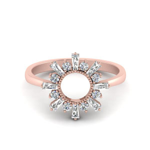 Baguette Diamond Sunrays Design Ring