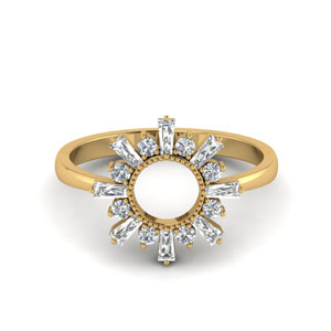Baguette Sunrays Design Ring