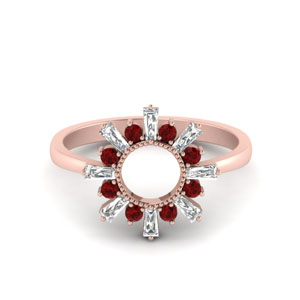 Baguette Sunrays Design Ring With Ruby