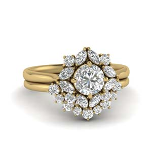 Art Deco Halo Diamond Ring Set