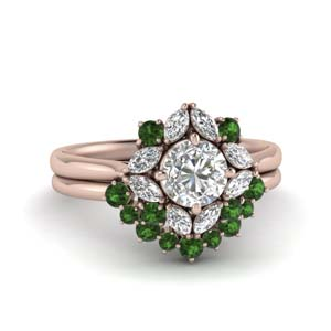 Art Deco Halo Emerald Ring Set