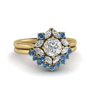 Yellow Gold Blue Topaz Ring Set