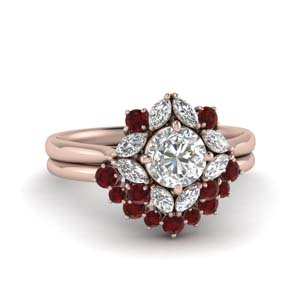 Art Deco Ring With Ruby Band