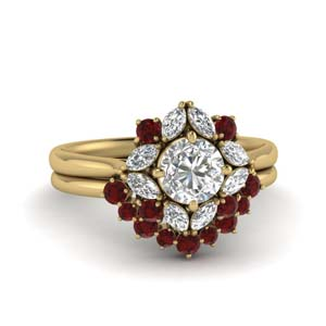 Art Deco Halo Ruby Wedding Set