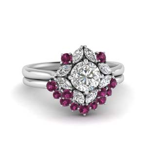 White Gold Pink Sapphire Ring Set