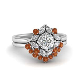 Art Deco Halo Diamond Wedding Set