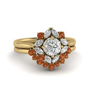 Art Deco Orange Sapphire Ring Set