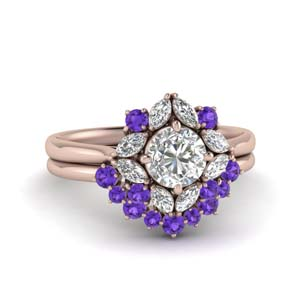 Purple Topaz Wedding Ring Set