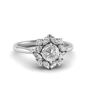 Art Deco Halo Diamond Engagement Ring