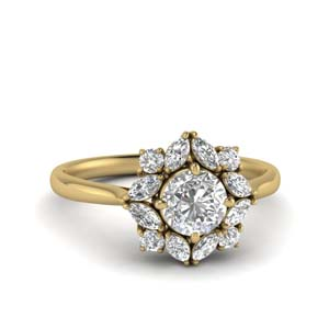 Art Deco Halo Lab Diamond Ring